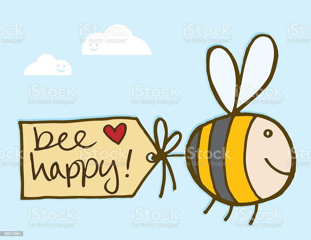 Bee Happy - Royaltyfri Bi - Insekt vektorgrafik
