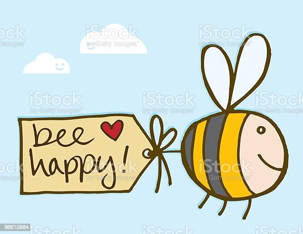 Bee Happy-vektorgrafik och fler bilder på Bi - Insekt