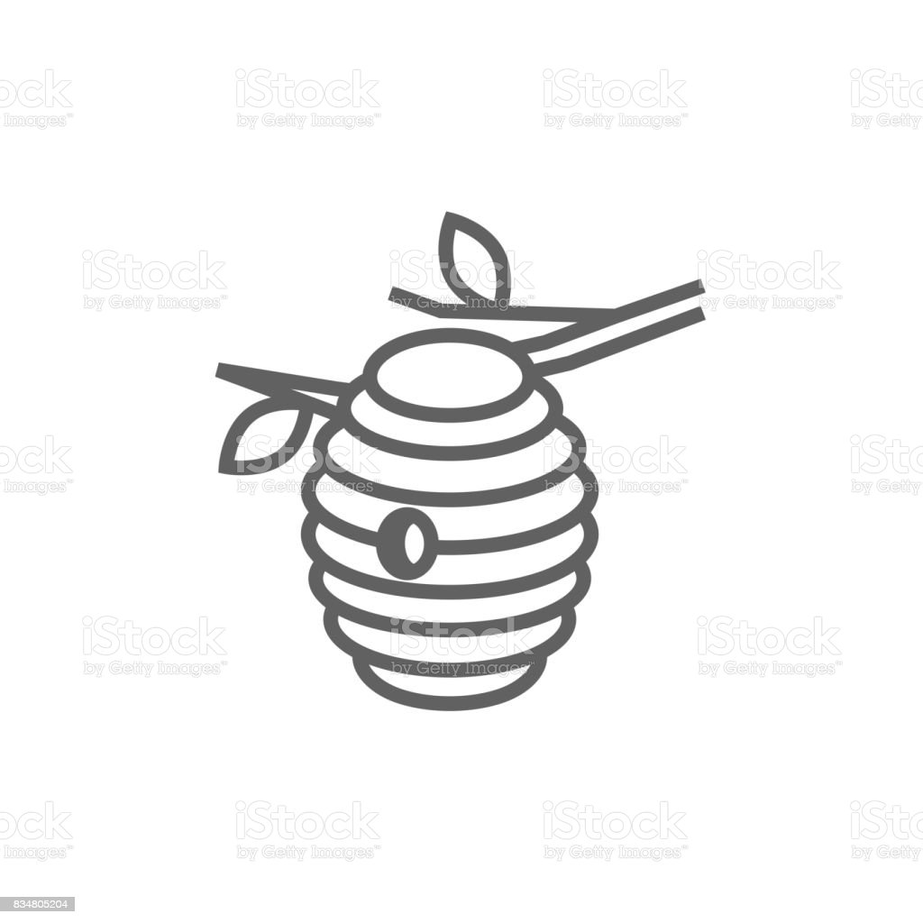 Bee hive line icon vector art illustration