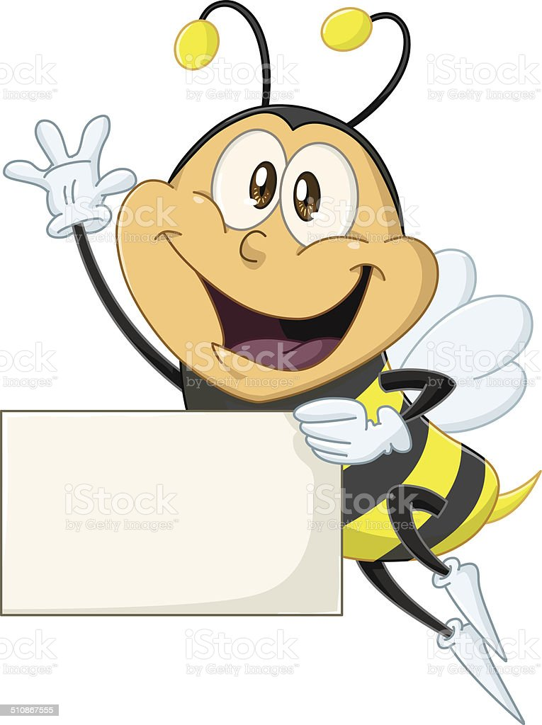 Bee Holds Sign And Waves Hello vector art illustration