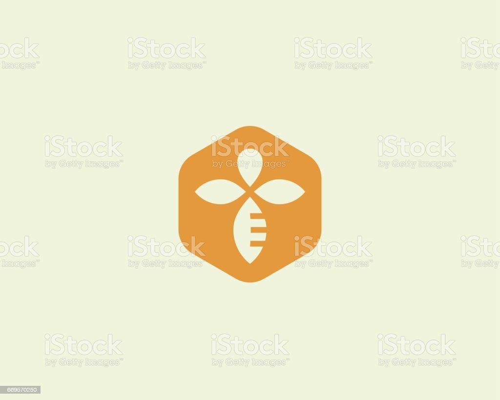 Abeille Miel créatif icône symbole logo vectoriel. Logotype linéaire de dur labeur. - Illustration vectorielle