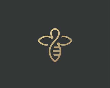 Bee honey creative vector icon symbol logo. Hard work linear logotype.