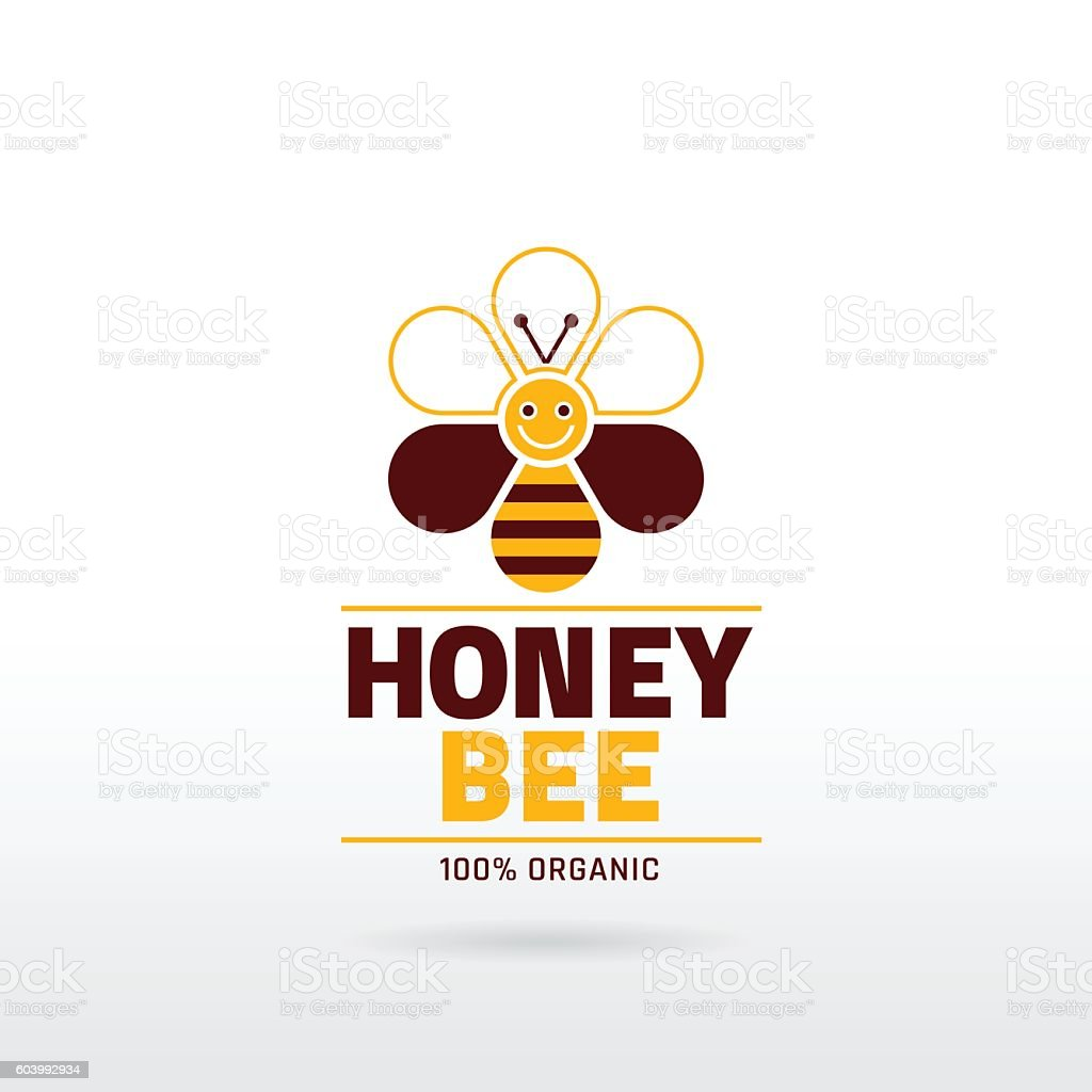 Bee honey icon with cartoon honeybee, text lettering, flower. - Illustration vectorielle