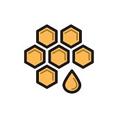Bee honey symbol, honeycomb thin line icon