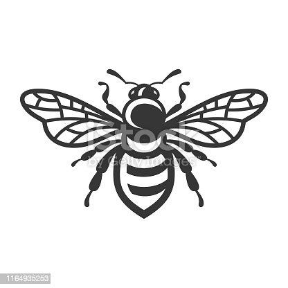 Bee Icon. Bug Logo on White Background. Vector illustration