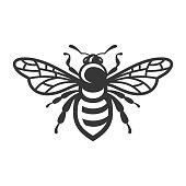 Bee Icon. Bug Logo on White Background. Vector
