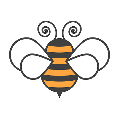 Bee icon. Cartoon image on a clean background. Isolated vector on a white background.