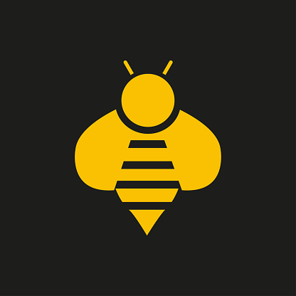 Bee icon. Image in black and yellow.