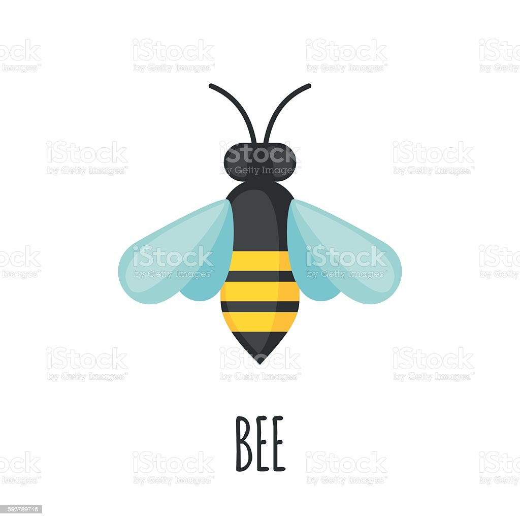 Bee icon in flat style. vector art illustration