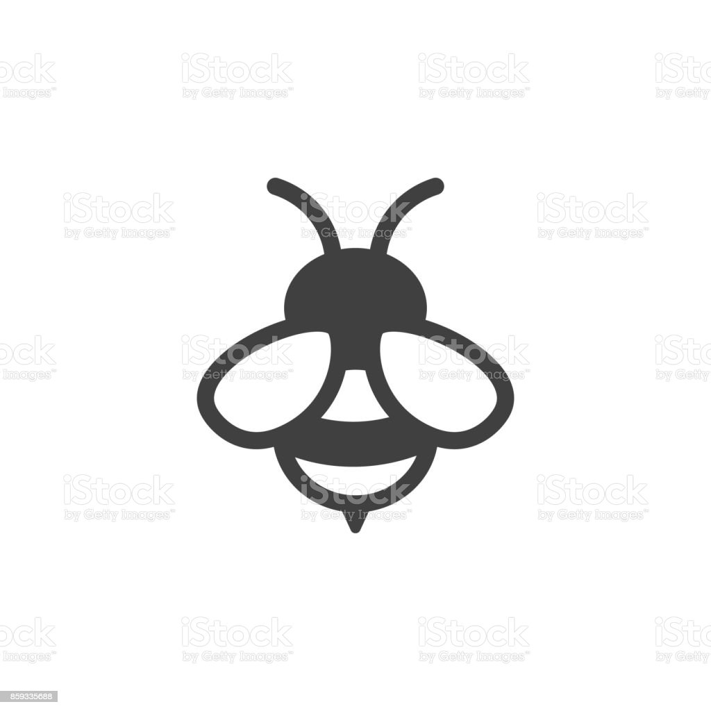 bee icon on the white background vector art illustration