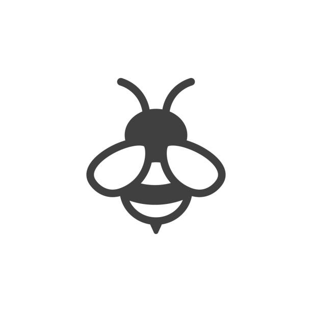 bee icon on the white background bee icon fly insect stock illustrations