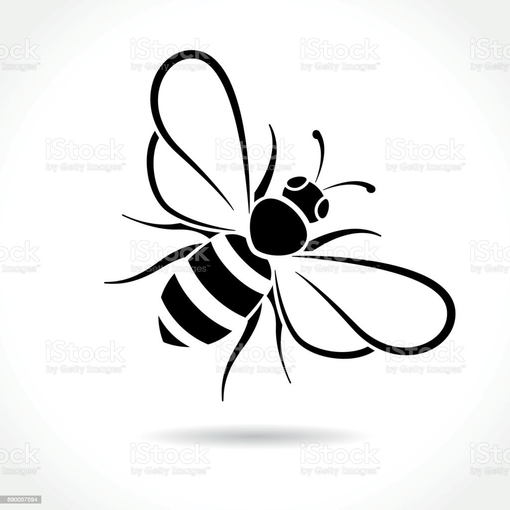 bee icon on white background – artystyczna grafika wektorowa