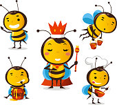 Bee action set 1, featuring 5 cute bees. With Bees in different sizes and situations like, Standing bee, Queen Bee, Bee carrying honey, Bee eating honey and bee cooking honey vector illustration.