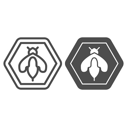 Bee in honeycomb line and solid icon, Honey concept, Honey bee sign on white background, wasp bee in hexagon icon in outline style for mobile concept and web design. Vector graphics.
