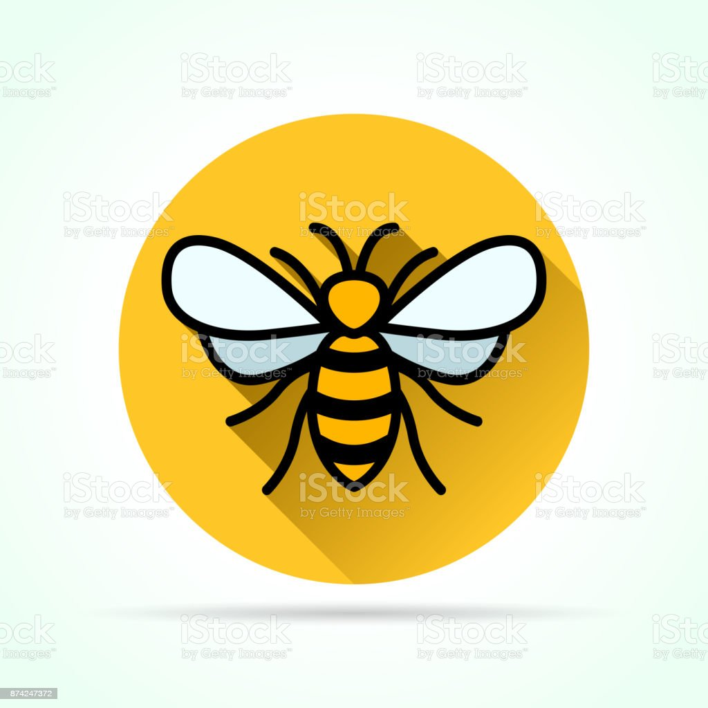 bee in yellow circle icon vector art illustration