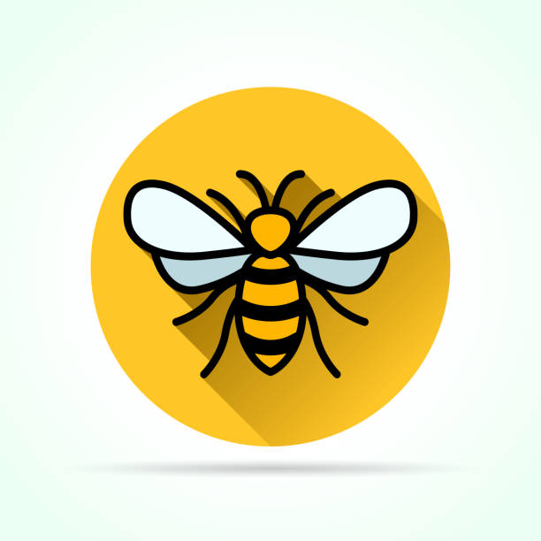 Bекторная иллюстрация bee in yellow circle icon