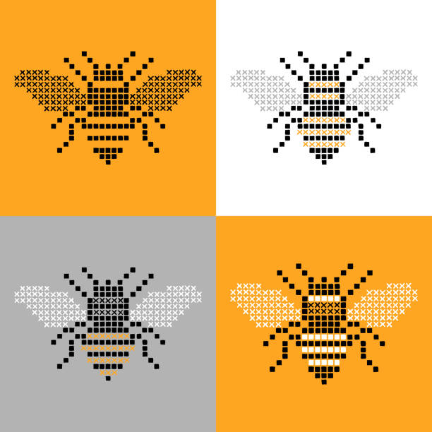Bee Insect Cross Stitch Simple Set Bee insect cross stitch simple set. An original artwork vector illustration of cross stitch bee logo.This inspirational flat design can be a postcard, invitation, web banner, shop window, postcard, invitation, poster or flyer. queen bee stock illustrations