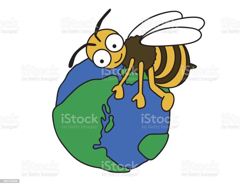 蜂が地球を守る ベクターアートイラスト