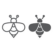 Bee line and glyph icon, animal and honey, insect sign, vector graphics, a linear pattern on a white background, eps 10.