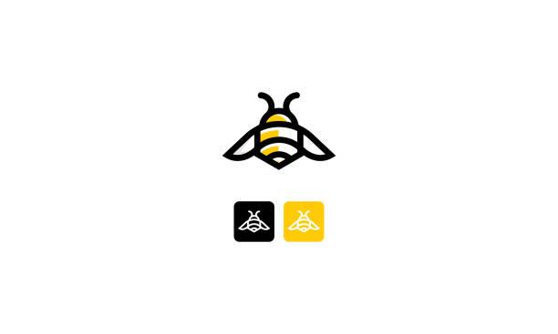 ilustrações de stock, clip art, desenhos animados e ícones de bee line art icon vector - abelha