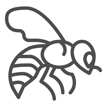 Bee line icon, Honey concept, Honey bee sign on white background, Flying insect icon in outline style for mobile concept and web design. Vector graphics.