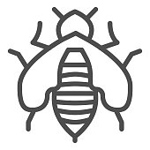 Bee line icon, Honey concept, Honey bee sign on white background, honeybee icon in outline style for mobile concept and web design. Vector graphics