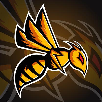 Bee Logo, Bee Head Logo template, Esport Logo