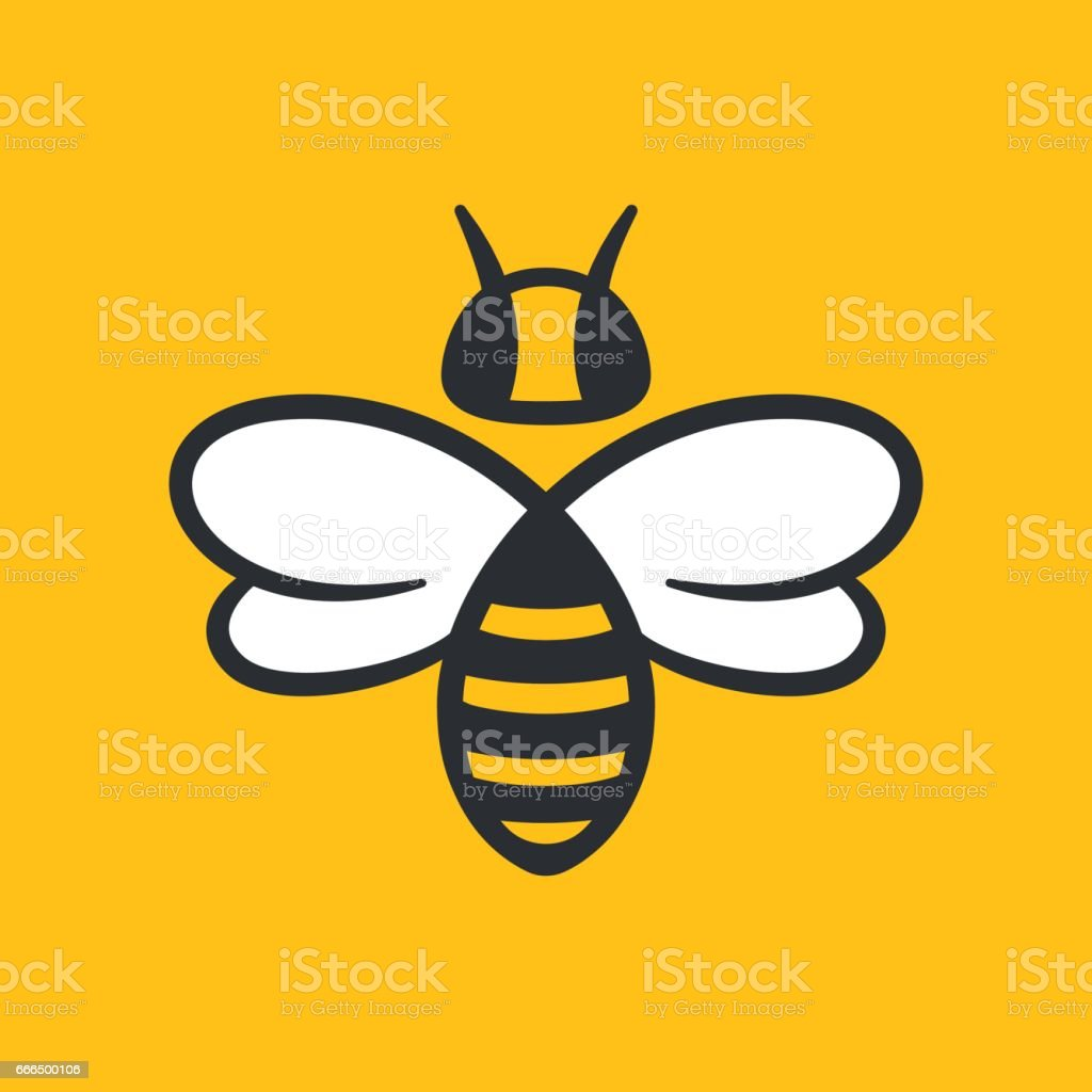 Bee Logo design vector art illustration