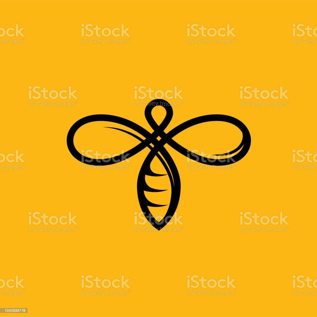 Logo d'abeille sur fond jaune miel. Icône d'abeille isolée de vecteur pour la conception d'étiquettes produit apicole - Illustration vectorielle