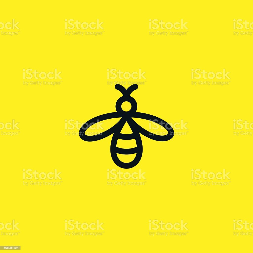 Bee logo vector art illustration
