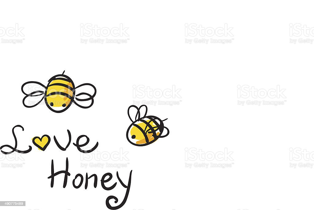 Bee Love honey vector art illustration