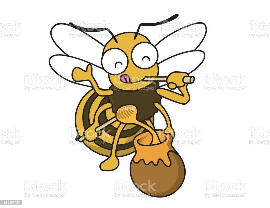 蜂は蜂蜜を愛しています。 ベクターアートイラスト