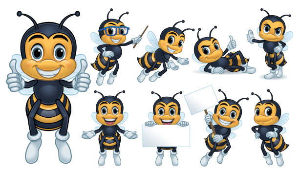 Bee Mascot Character Design of bee characters with 9 poses, vector eps 10 format. mascot stock illustrations