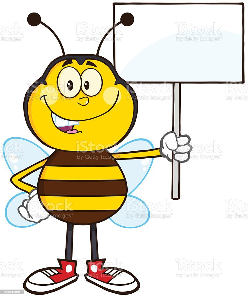 Ilustración de Abeja Sosteniendo Un Cartel Mascot y más banco de ...