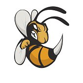Bee head athletic club vector logo concept isolated on dark background. Modern sport team mascot badge design. E-sports team logo template with Bee vector illustration