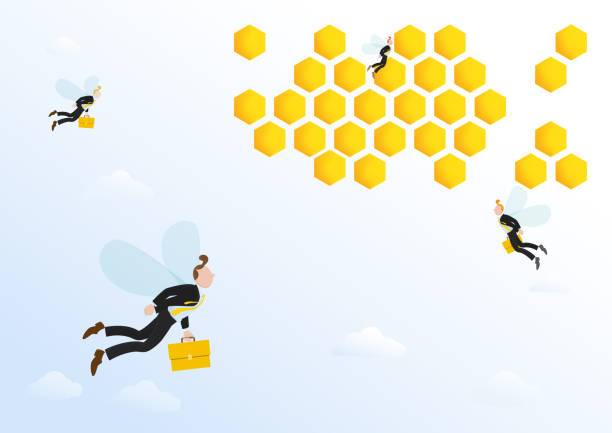 Bee office Workers Businessman, office workers with briefcases flying to bee hive, office. Vector illustration concept for simile human working life like bee. swarm of insects stock illustrations