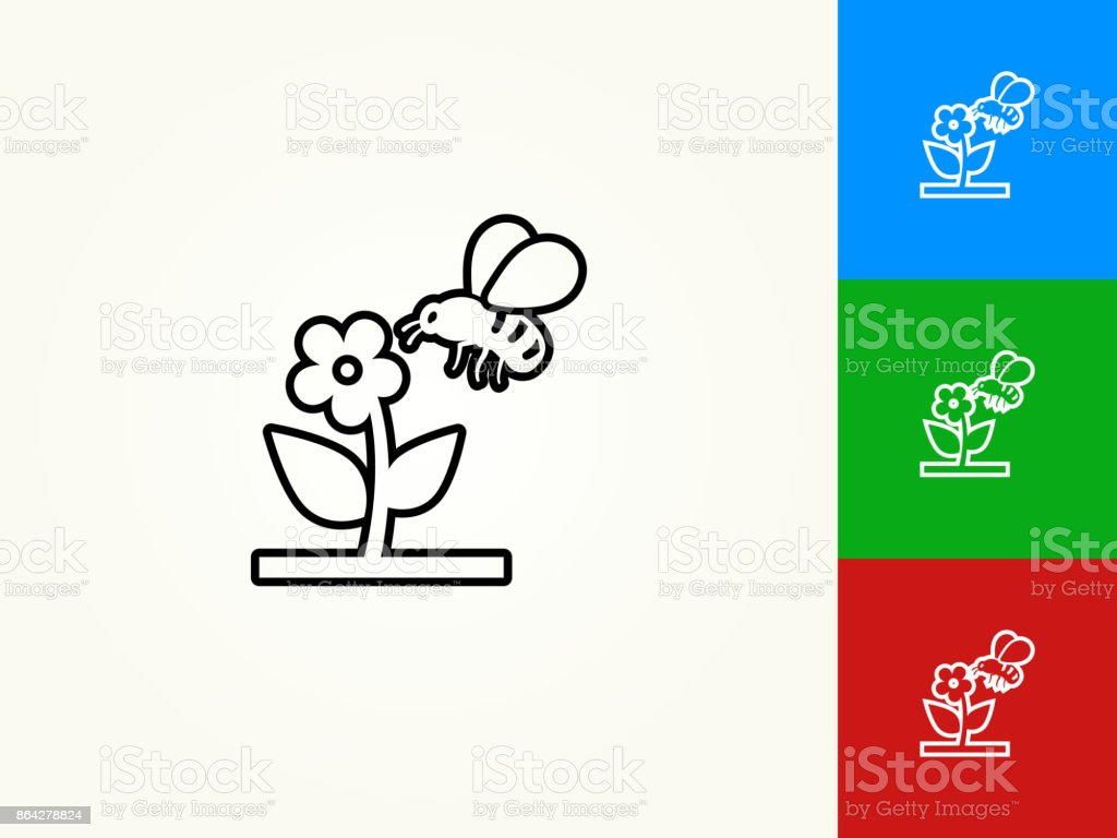 Bee on Flower Black Stroke Linear Icon royalty-free bee on flower black stroke linear icon stock vector art & more images of bee