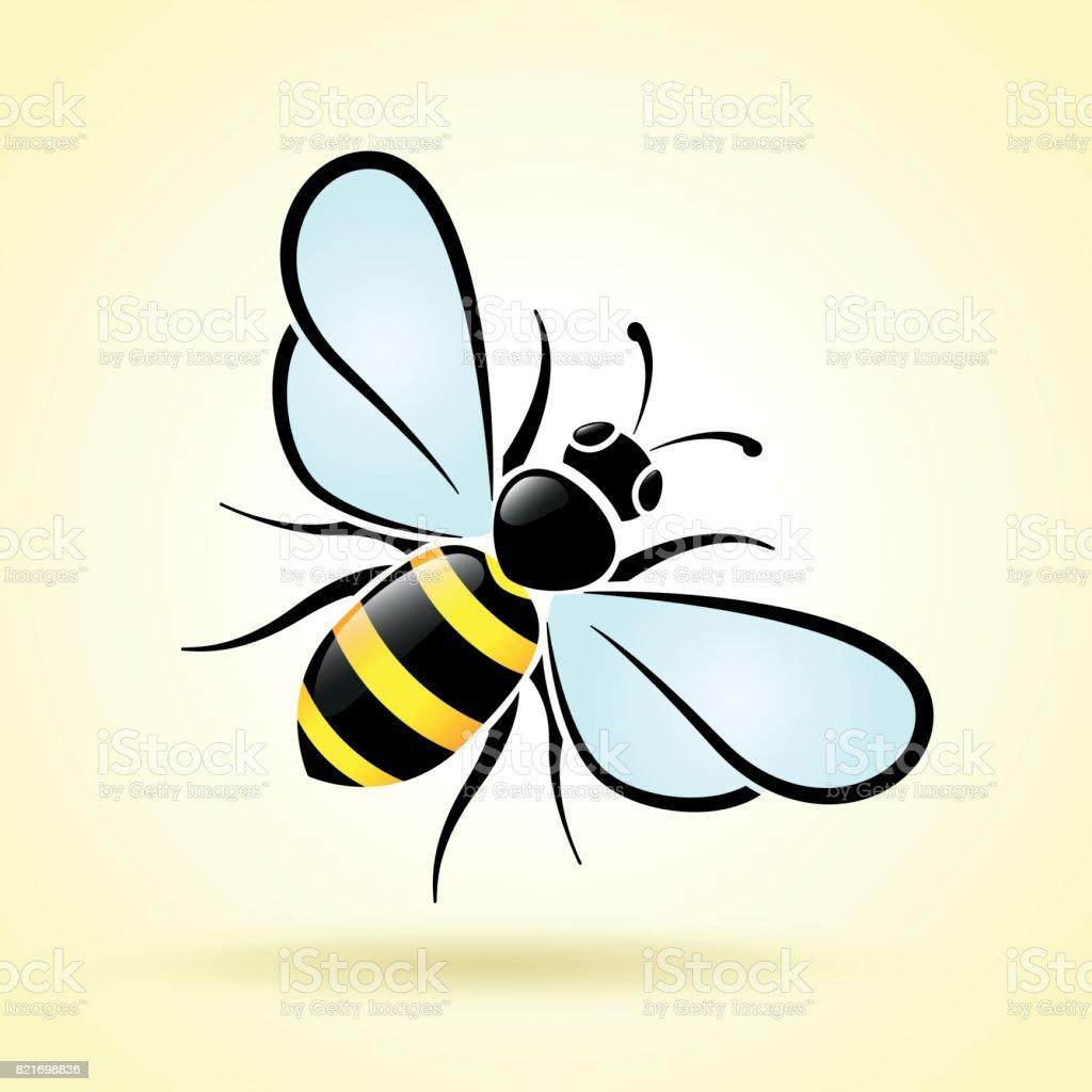 Biene auf weißem Hintergrund – Vektorgrafik