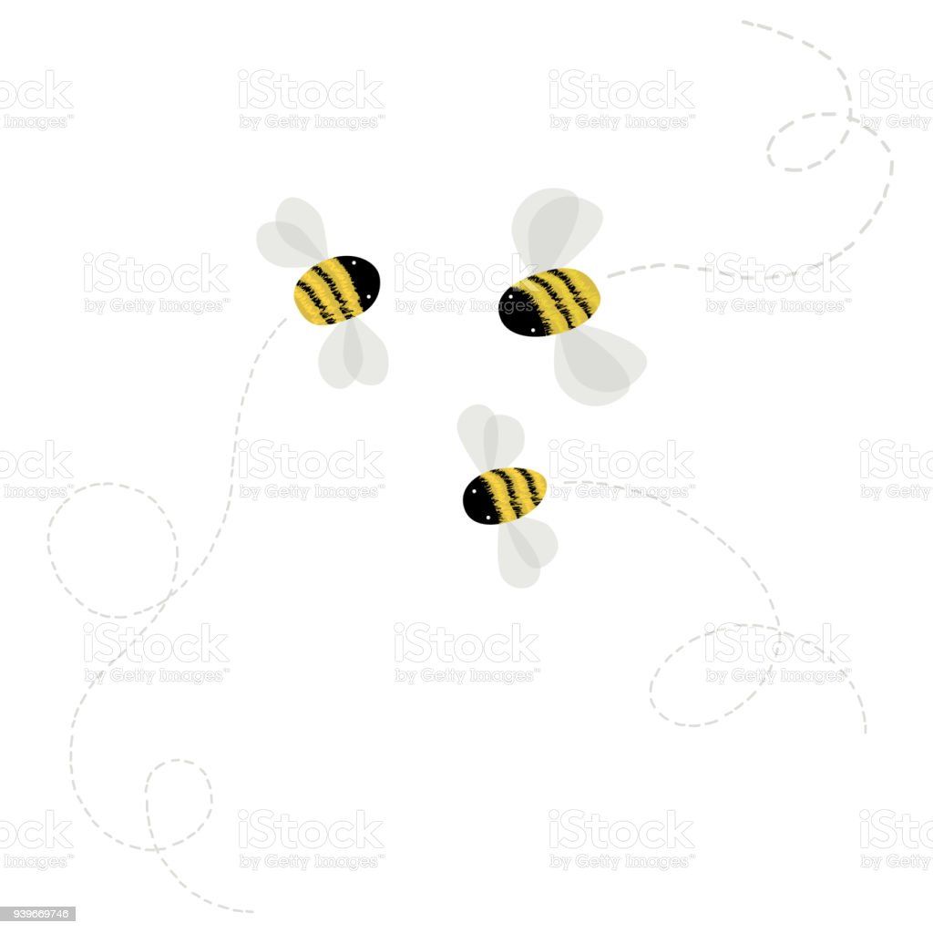 3 bee on white background – artystyczna grafika wektorowa