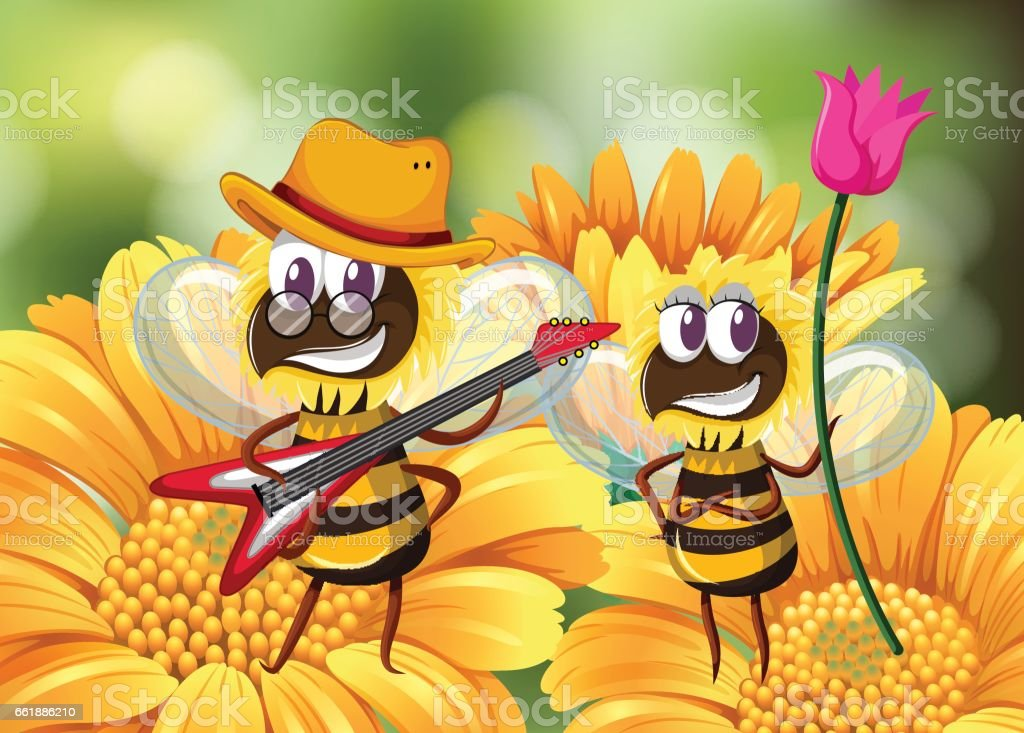 Bee playing guitar on flower vector art illustration