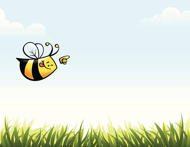 Bee Pointing vector art illustration