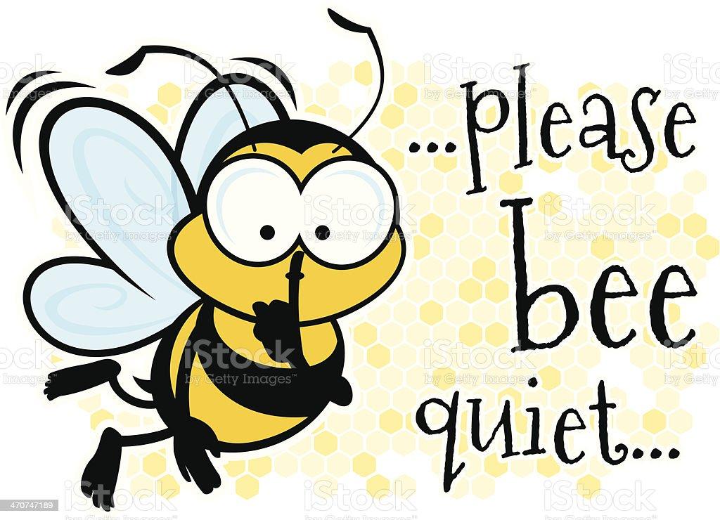 Bee Quiet vector art illustration