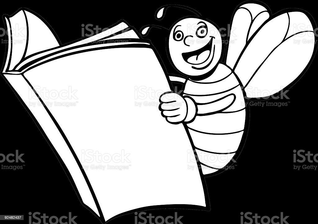 Line Art Bee : Bee reading book line art stock vector more images of