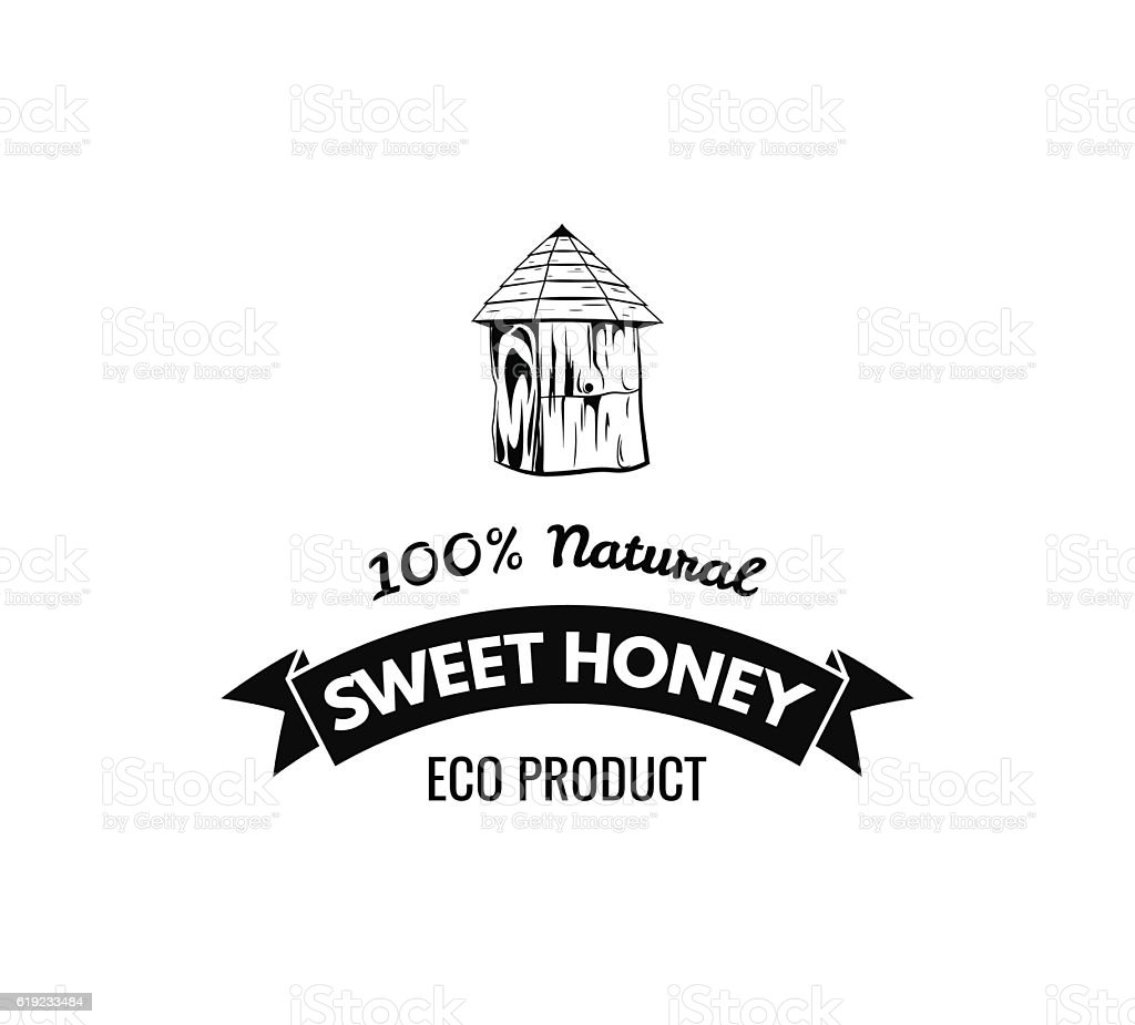 Bee S House Sweet Honey Label Badge Logo Vintage Vector Stock Vektor
