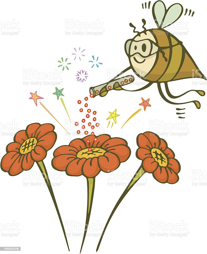 Bee Scientist Pollinating Flowers Holding Test Tube royalty-free bee scientist pollinating flowers holding test tube stock vector art & more images of above