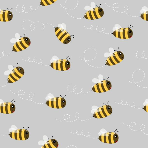Bee seamless pattern vector art illustration