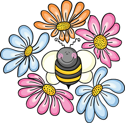 Bee surrounded by flowers