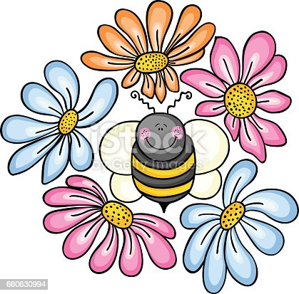 istock Bee surrounded by flowers 660630994