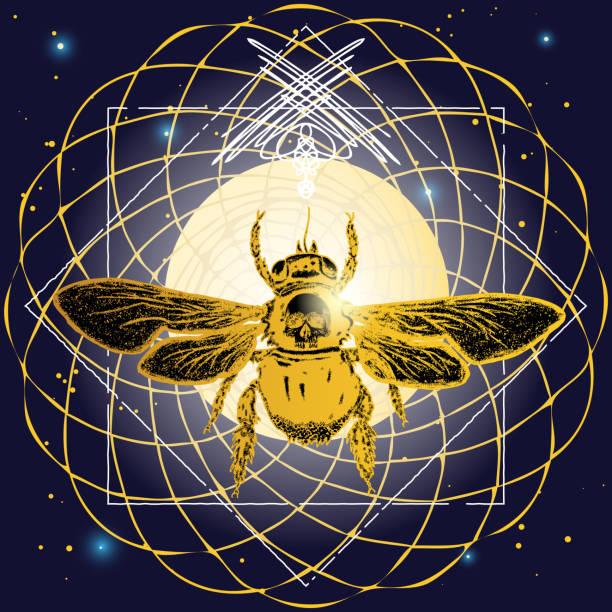 Arte del tatuaje de abejas. Boceto dibujado mano del abejorro. Imprimir el diseño de la tela. Decoración lineal. Símbolos místicos del Dios del sol egipcio Ra, representa la visión, creatividad y sabiduría. Vector. - ilustración de arte vectorial
