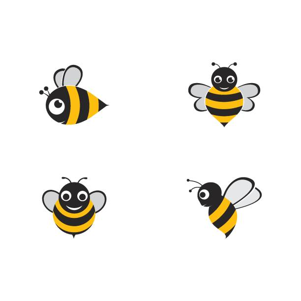 illustrazioni stock, clip art, cartoni animati e icone di tendenza di bee  template vector icon illustration - impollinazione